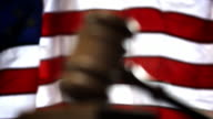 COURTROOM-GAVEL AND FLAG video