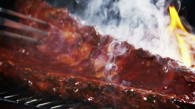 BBQ RIBS ON GRILL-SLOW MOTION video