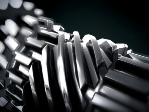 CLOSE UP IN 3D METTALIC GEARS ROTATING LOOP video