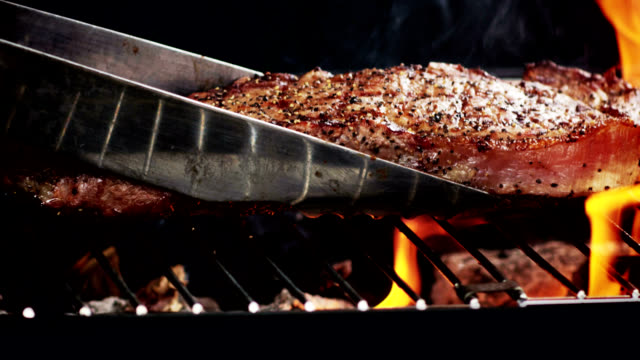 GRILLED STRIP STEAK-SLOW MOTION video