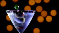 MARTINI WITH DOUBLE OLIVE-SLOW MOTION video