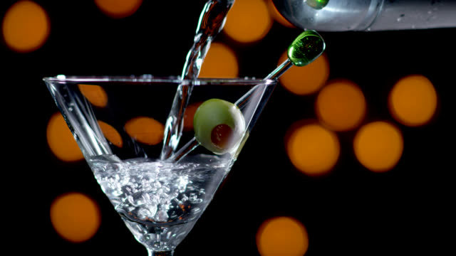 MARTINI BEING POURED-SLOW MOTION video
