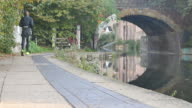 JOGGER RUNNING UNDER BRIDGE BESIDE REGENT'S CANAL video