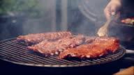 BBQ RIBS ON GRILL video