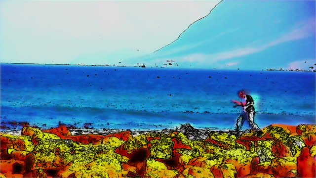 HD 1080i Muizenberg Beach  South Africa boy walking animated effect video