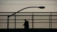 HD 1080i People walking over bridge in Las Vegas 2 video