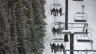HD 1080i Skiers on Colorado Ski Resort Mountain lift video