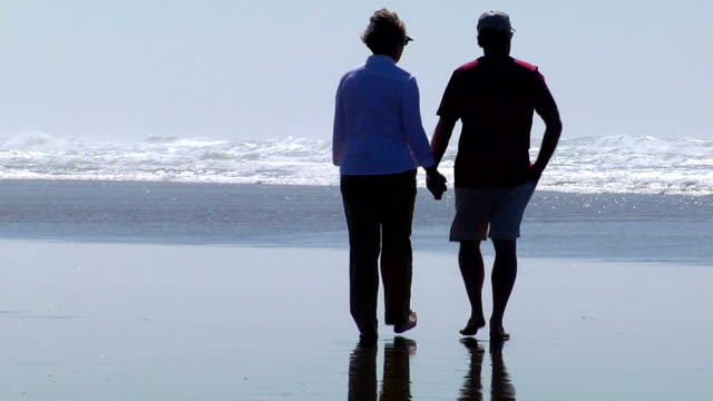 HD 1080p- Senior couple holding hands on beach video