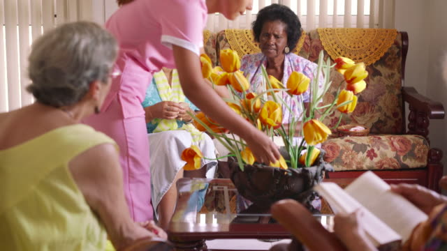 10-Senior Women Playing Card Game In Hospice video