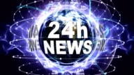 24h NEWS Text Animation and Earth, Loop video