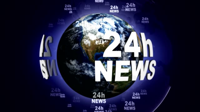 24h NEWS Text Animation Around the World, Rendering, Background, Loop video