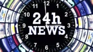 24h NEWS Text Animation in Monitors Tunnel, Loop video
