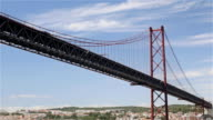 25th of April Bridge on sky background Lisbon Portugal video