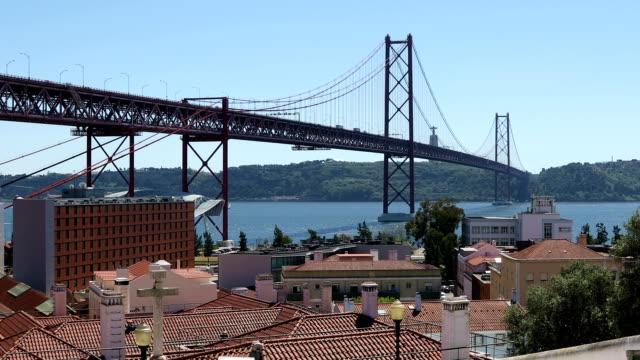 25thof April Bridge in Lisbon, Portugal video