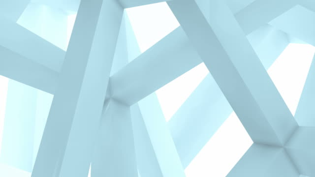 3d abstract architecture motion chaotic background. Inside of light blue rotating cube beam-type construction video