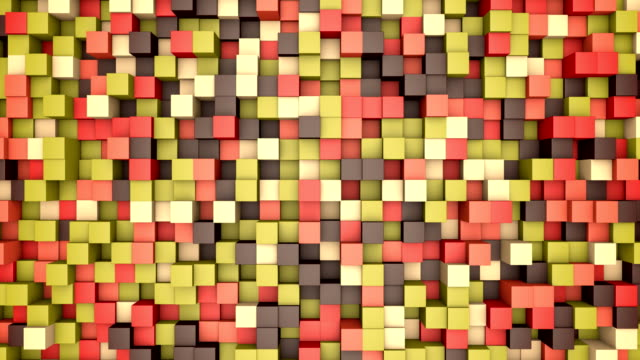 3d animation: mosaic abstract background, colored moving blocks brown, red, pink, green, beige, yellow color. fall, autumn. Range of shades. small squares, cell. Wall cubes. Pixels art. Seamless loop. video
