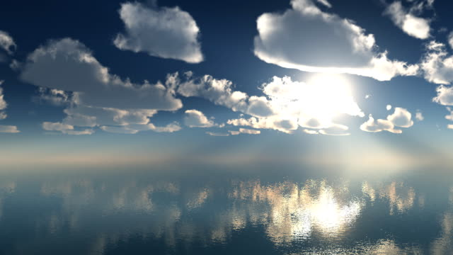3d animation timelaps clouds over the sea 1920x1080p video