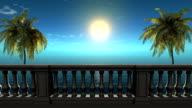 3d balcony near sea under deep blue sky,palm video