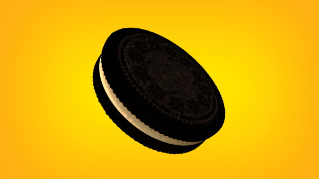 3d chocolate sandwich cookie with cream animation loop. Luma matte is provided to extract the cookie. video