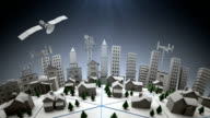 3d City with telecommunications satellite and cell towers video