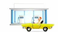 3d Gas Station and plasticine Car, stop motion. video
