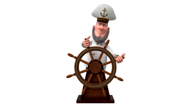 3d illustration sea captain with the wheel video