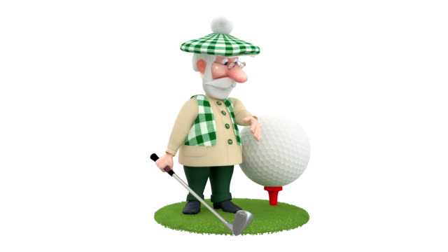 3d little man golfist. video