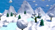 3d low poly winter landscape video