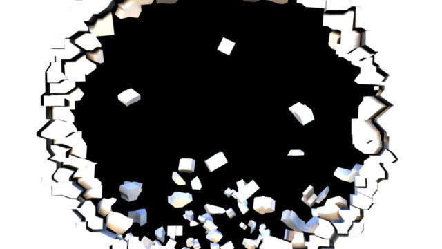 3d wall explode transition effect with Alpha Matte (HD) video