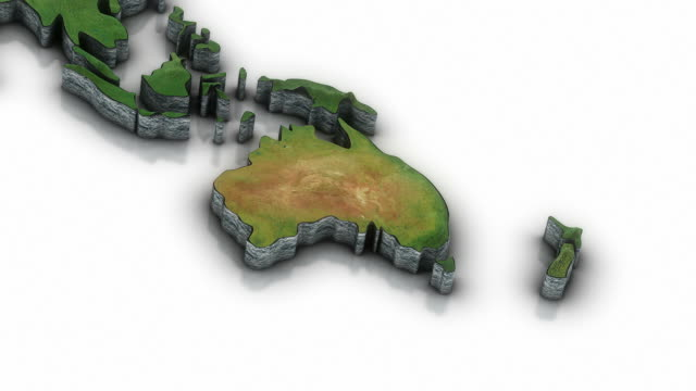 3d World map zoom to Australia area video
