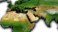 3d World map zoom to Middleeast area video