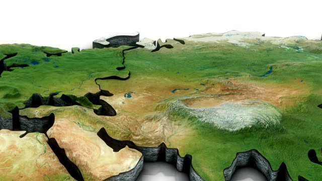3d World map zoom to Russia video