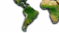 3d World map zoom to South America video