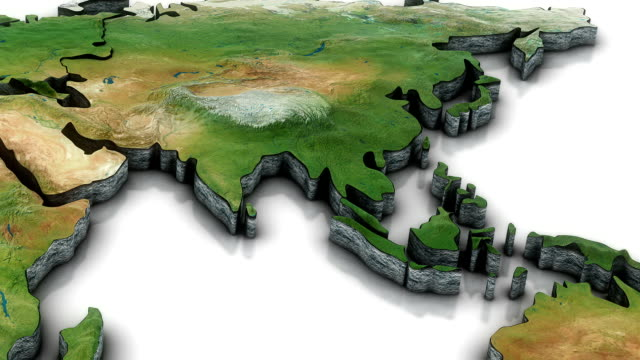 3d World map zoom to Southern Asia video