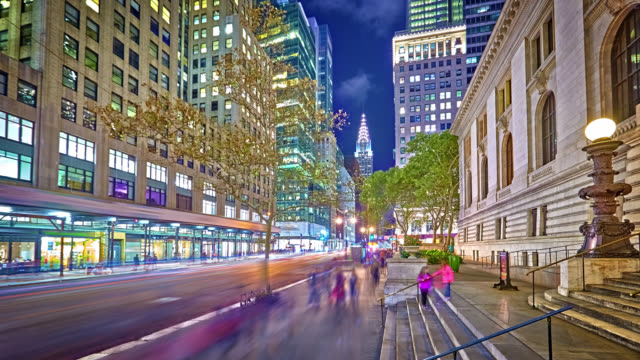 42nd street at night and Chrysler Building video