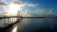 4k Aerial Epic Cinematic of Arthur Ravenel Jr. Bridge Charleston SC video