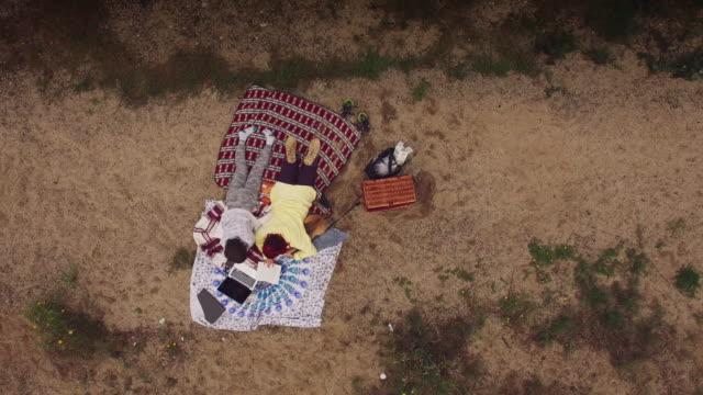 4k Aerial Family Having Picnic Next to the Lake video