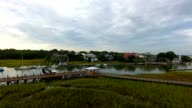 4k Aerial of Wet Grass Lands in Charleston South Carolina video