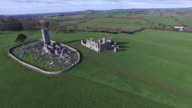 4k aerial shoot of Ireland fields and castle video