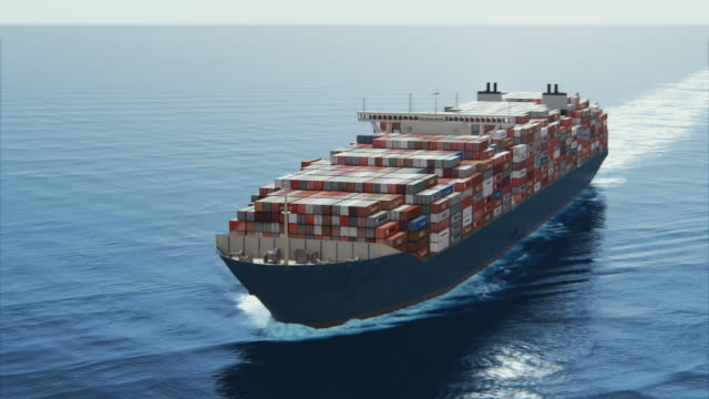 4k aerial shot - big container ship video