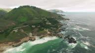 4k aerial view around bridge big sur ocean waves video