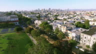 4k aerial view toward san francisco downtown flyover mission houses video
