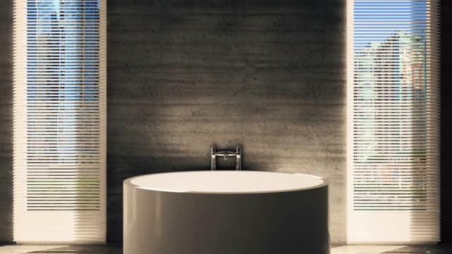 4k. Animation bathroom interior. Hygiene items. video