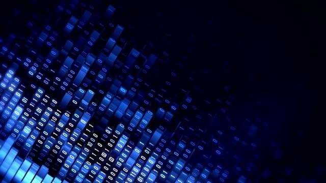 4k Binary Code Loop (Blue): Data Transfer, AI, Cloud Computing video