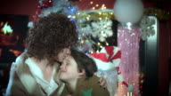 4k Christmas and New Year Holiday Mom and Child Hugging video