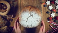 4k Christmas Food from Above Composition of Hands Taking Cake video