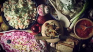 4k Christmas Food from Above Composition of Russian Traditional Dishes and Dolls video