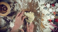 4k Christmas Food from Above Composition of Woman Hands Working with Dough video