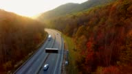 4k cinematic epic aerial of mountains in North Carolina in autumn video