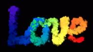 4k colour text LOVE smoke trail on black video